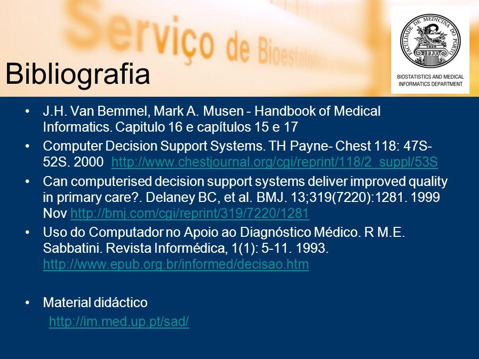 Bibliografia J.H. Van Bemmel, Mark A. Musen - Handbook of Medical Informatics. Capitulo 16 e capítulos 15 e 17 Computer Decision Support Systems. TH P