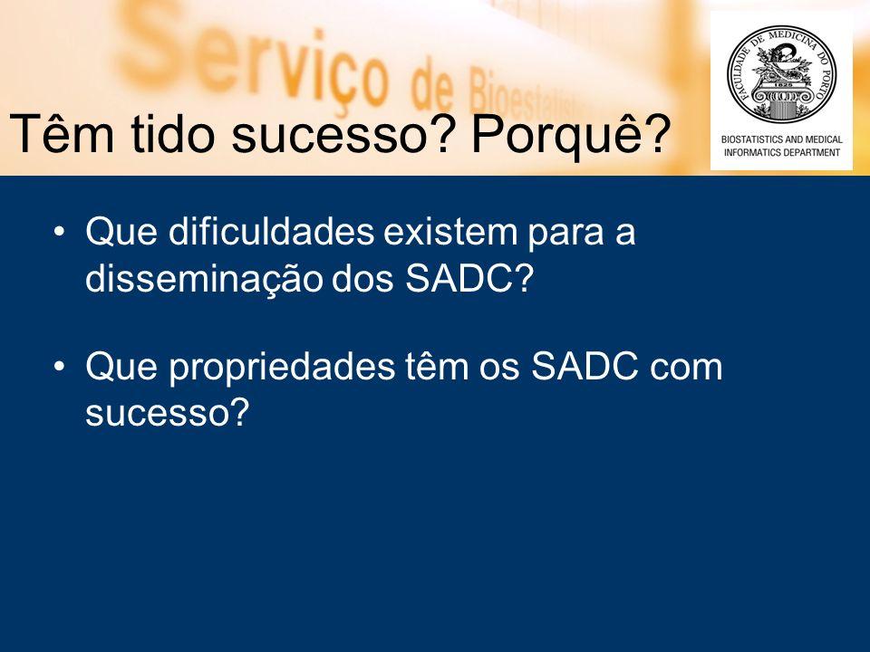 Têm tido sucesso? Porquê? Que dificuldades existem para a disseminação dos SADC? Que propriedades têm os SADC com sucesso?