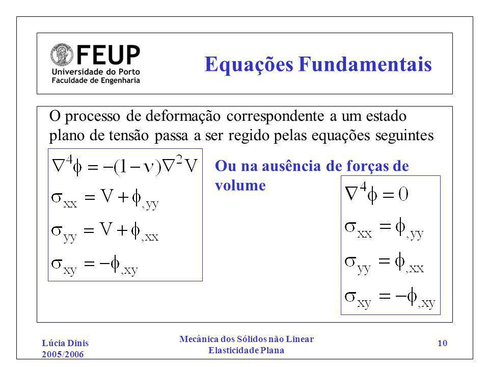 Lúcia Dinis 2005/2006 Mecânica dos Sólidos não Linear Elasticidade Plana 10 Equações Fundamentais O processo de deformação correspondente a um estado