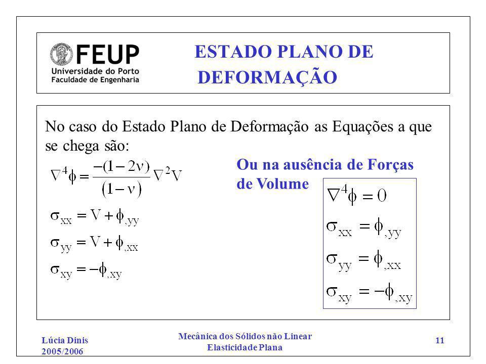 Lúcia Dinis 2005/2006 Mecânica dos Sólidos não Linear Elasticidade Plana 11 ESTADO PLANO DE DEFORMAÇÃO No caso do Estado Plano de Deformação as Equaçõ