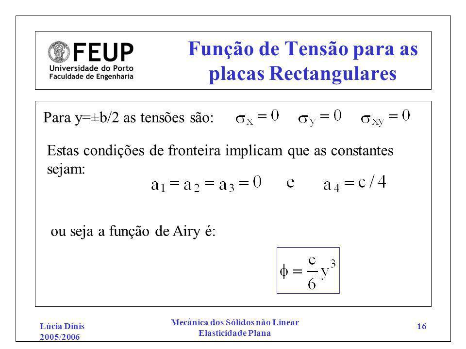 Lúcia Dinis 2005/2006 Mecânica dos Sólidos não Linear Elasticidade Plana 16 Função de Tensão para as placas Rectangulares Para y=±b/2 as tensões são: