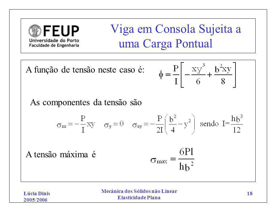 Lúcia Dinis 2005/2006 Mecânica dos Sólidos não Linear Elasticidade Plana 18 Viga em Consola Sujeita a uma Carga Pontual A função de tensão neste caso