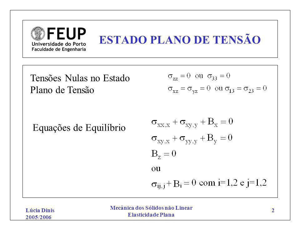 Lúcia Dinis 2005/2006 Mecânica dos Sólidos não Linear Elasticidade Plana 2 ESTADO PLANO DE TENSÃO Equações de Equilíbrio Tensões Nulas no Estado Plano