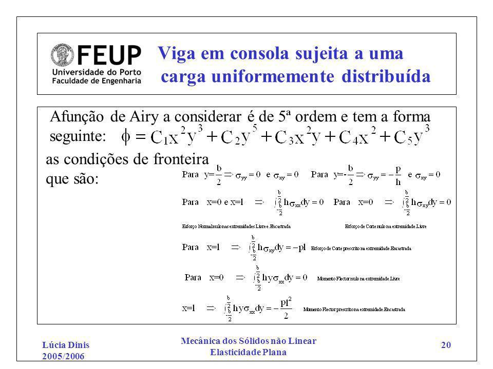 Lúcia Dinis 2005/2006 Mecânica dos Sólidos não Linear Elasticidade Plana 20 Viga em consola sujeita a uma carga uniformemente distribuída Afunção de A