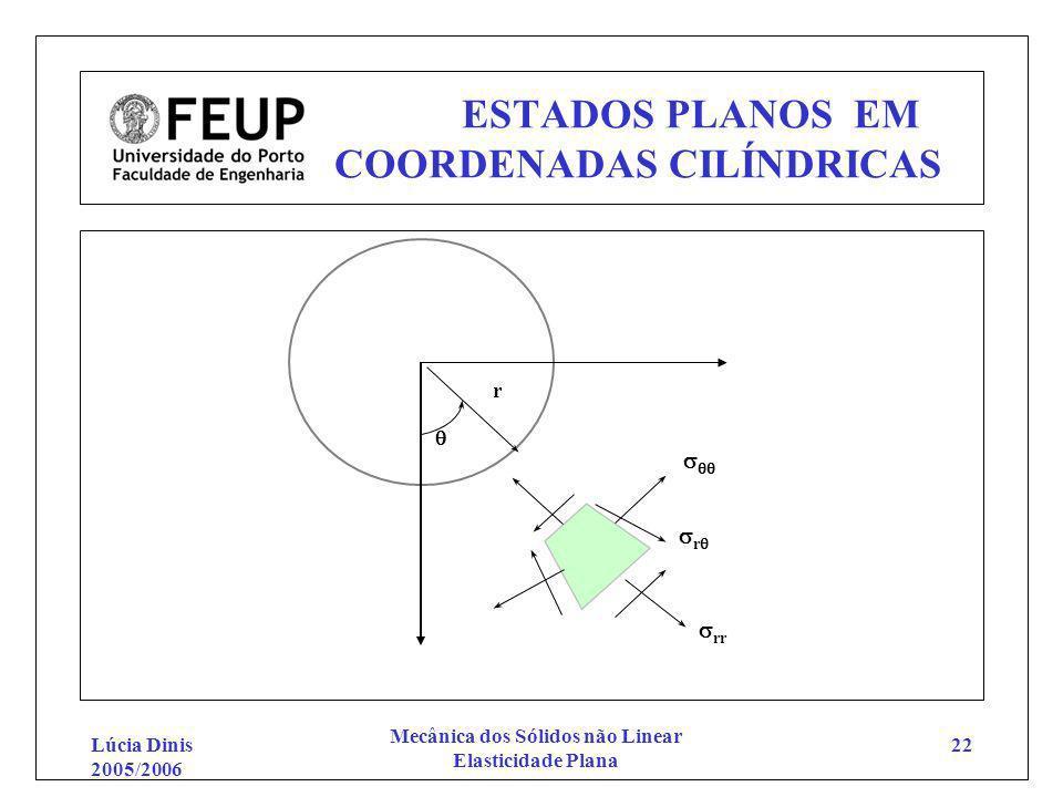 Lúcia Dinis 2005/2006 Mecânica dos Sólidos não Linear Elasticidade Plana 22 ESTADOS PLANOS EM COORDENADAS CILÍNDRICAS r r rr