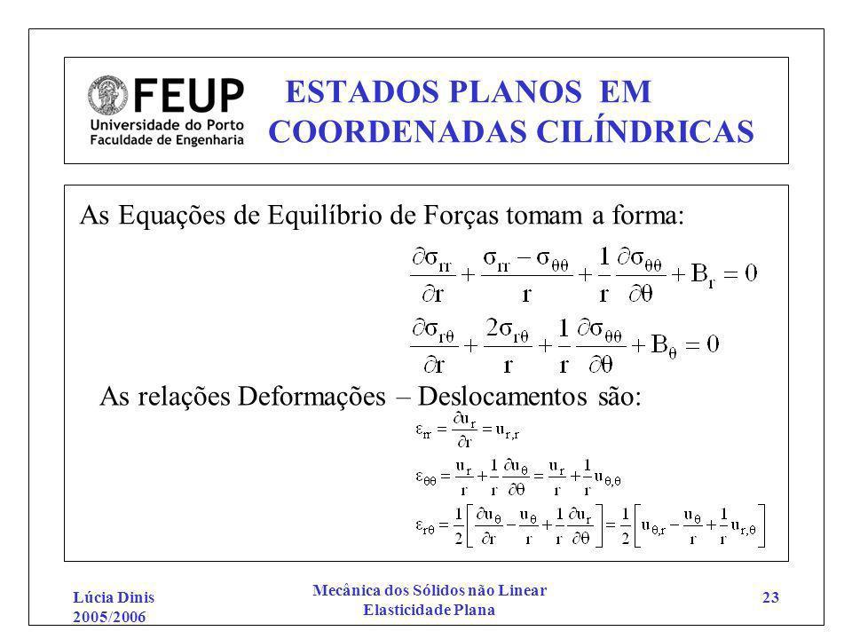 Lúcia Dinis 2005/2006 Mecânica dos Sólidos não Linear Elasticidade Plana 23 ESTADOS PLANOS EM COORDENADAS CILÍNDRICAS As Equações de Equilíbrio de For