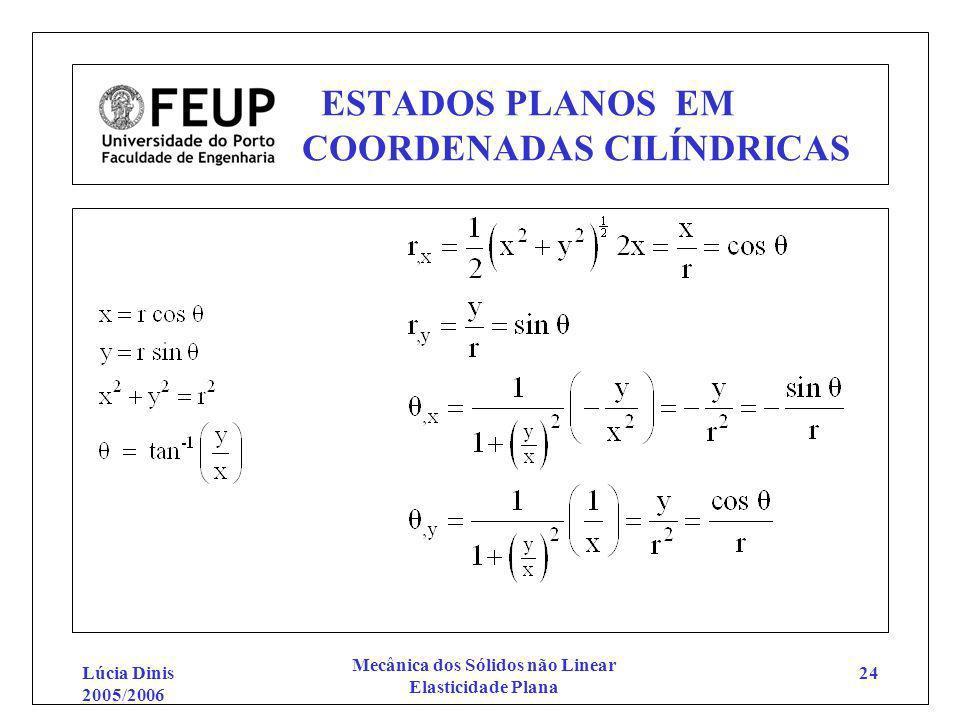 Lúcia Dinis 2005/2006 Mecânica dos Sólidos não Linear Elasticidade Plana 24 ESTADOS PLANOS EM COORDENADAS CILÍNDRICAS