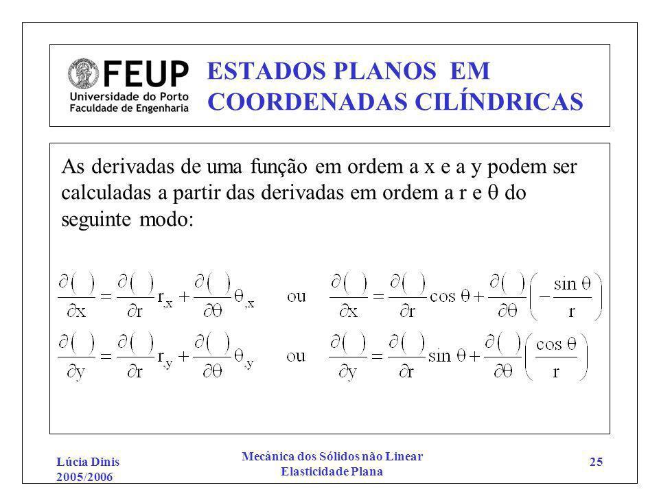 Lúcia Dinis 2005/2006 Mecânica dos Sólidos não Linear Elasticidade Plana 25 ESTADOS PLANOS EM COORDENADAS CILÍNDRICAS As derivadas de uma função em or