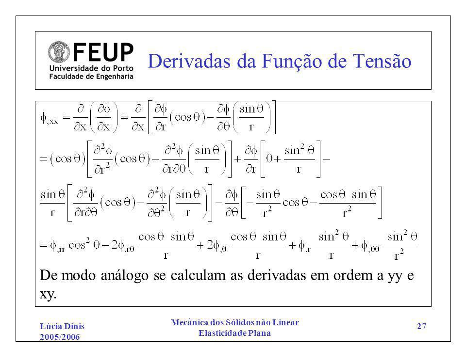 Lúcia Dinis 2005/2006 Mecânica dos Sólidos não Linear Elasticidade Plana 27 Derivadas da Função de Tensão De modo análogo se calculam as derivadas em