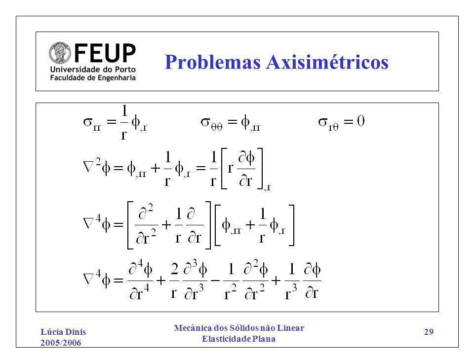 Lúcia Dinis 2005/2006 Mecânica dos Sólidos não Linear Elasticidade Plana 29 Problemas Axisimétricos