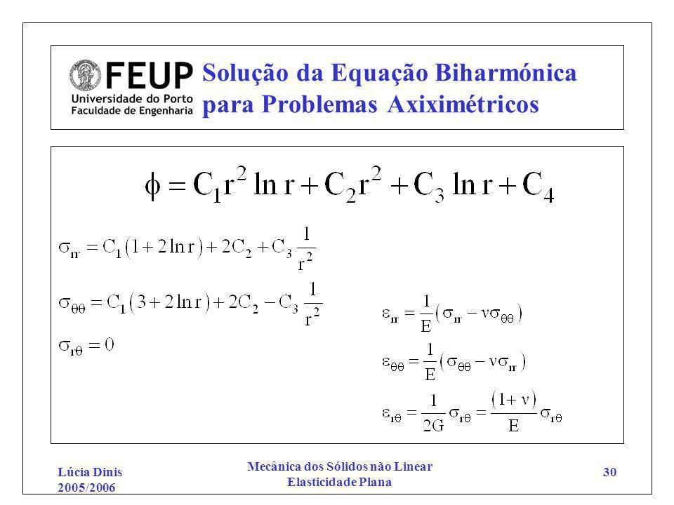 Lúcia Dinis 2005/2006 Mecânica dos Sólidos não Linear Elasticidade Plana 30 Solução da Equação Biharmónica para Problemas Axiximétricos