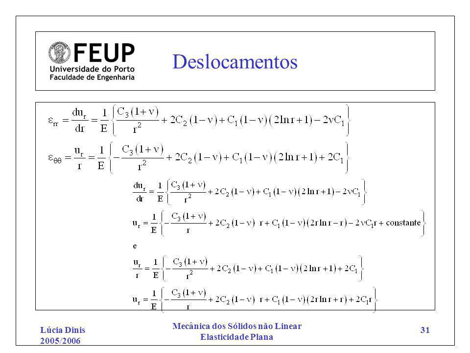 Lúcia Dinis 2005/2006 Mecânica dos Sólidos não Linear Elasticidade Plana 31 Deslocamentos
