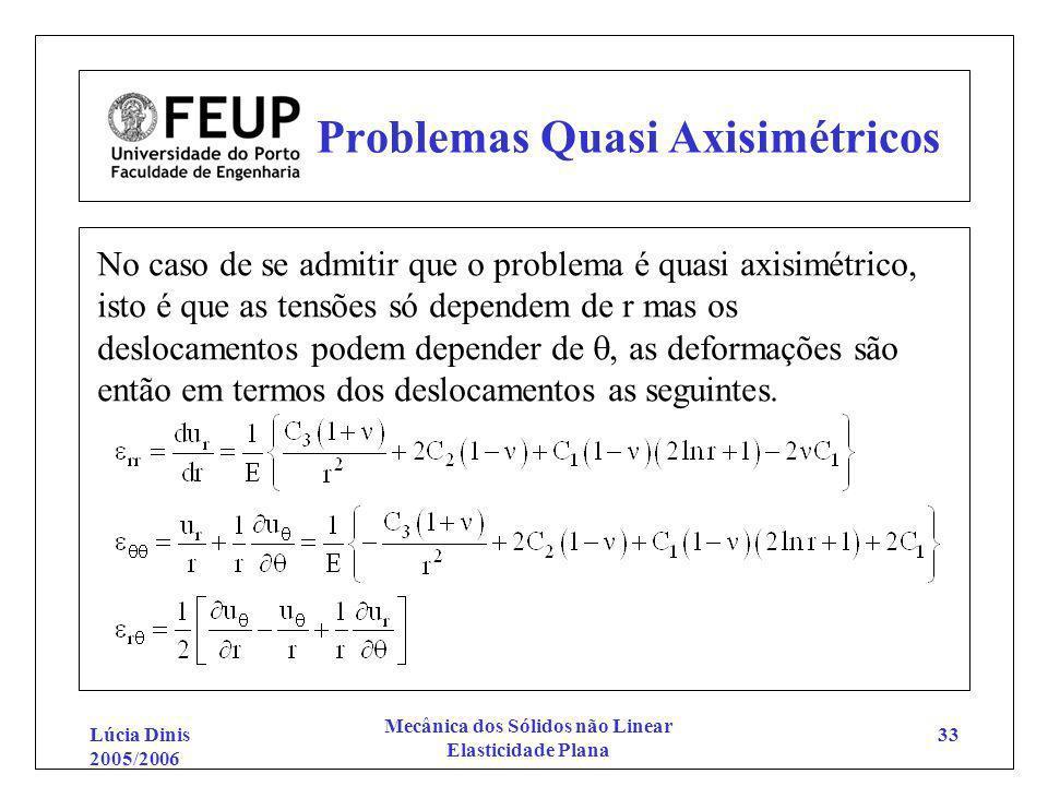 Lúcia Dinis 2005/2006 Mecânica dos Sólidos não Linear Elasticidade Plana 33 Problemas Quasi Axisimétricos No caso de se admitir que o problema é quasi