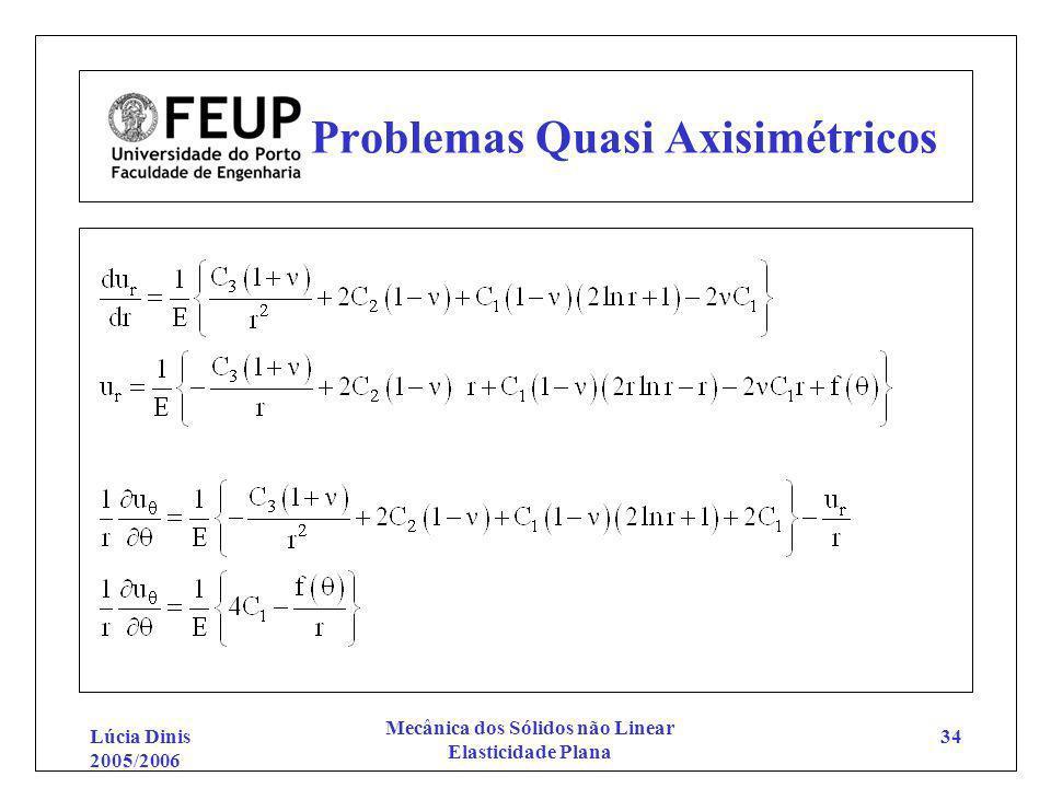 Lúcia Dinis 2005/2006 Mecânica dos Sólidos não Linear Elasticidade Plana 34 Problemas Quasi Axisimétricos