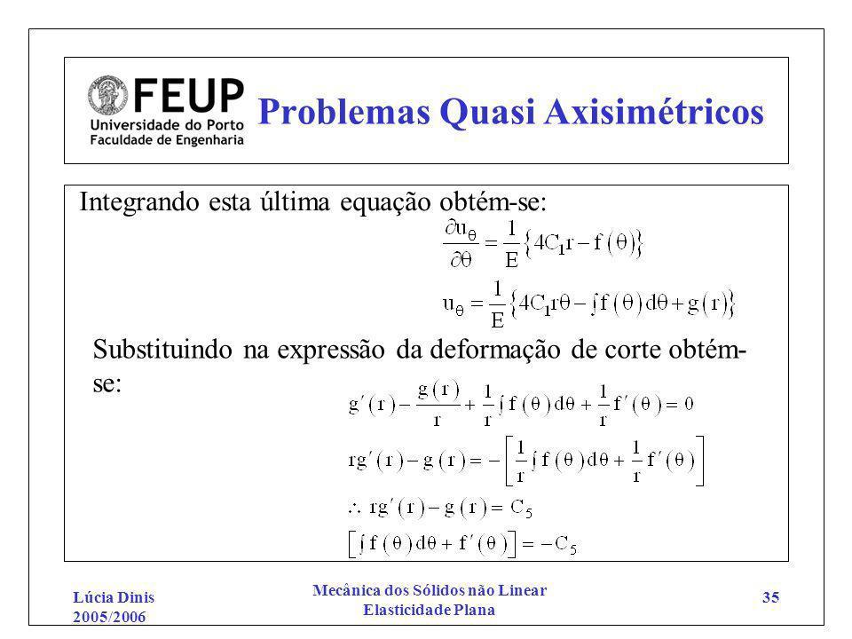 Lúcia Dinis 2005/2006 Mecânica dos Sólidos não Linear Elasticidade Plana 35 Problemas Quasi Axisimétricos Integrando esta última equação obtém-se: Sub