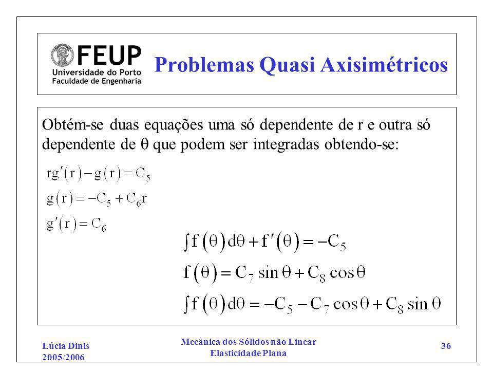 Lúcia Dinis 2005/2006 Mecânica dos Sólidos não Linear Elasticidade Plana 36 Problemas Quasi Axisimétricos Obtém-se duas equações uma só dependente de