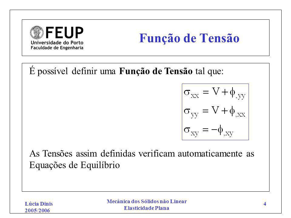 Lúcia Dinis 2005/2006 Mecânica dos Sólidos não Linear Elasticidade Plana 4 Função de Tensão É possível definir uma Função de Tensão tal que: As Tensõe
