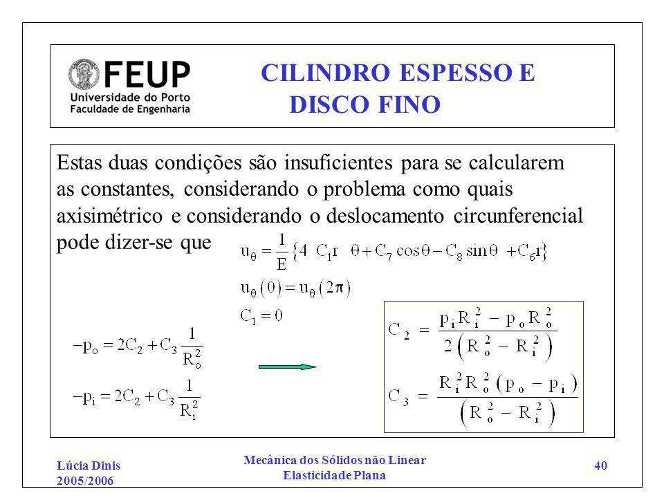Lúcia Dinis 2005/2006 Mecânica dos Sólidos não Linear Elasticidade Plana 40 CILINDRO ESPESSO E DISCO FINO Estas duas condições são insuficientes para
