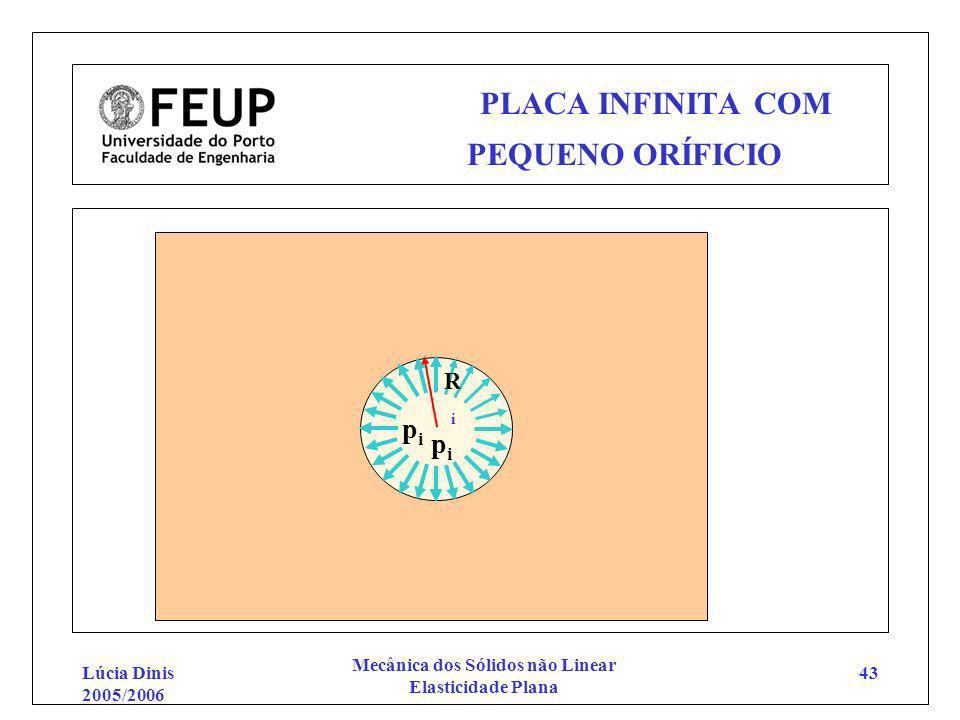 Lúcia Dinis 2005/2006 Mecânica dos Sólidos não Linear Elasticidade Plana 43 PLACA INFINITA COM PEQUENO ORÍFICIO pipi pipi RiRi
