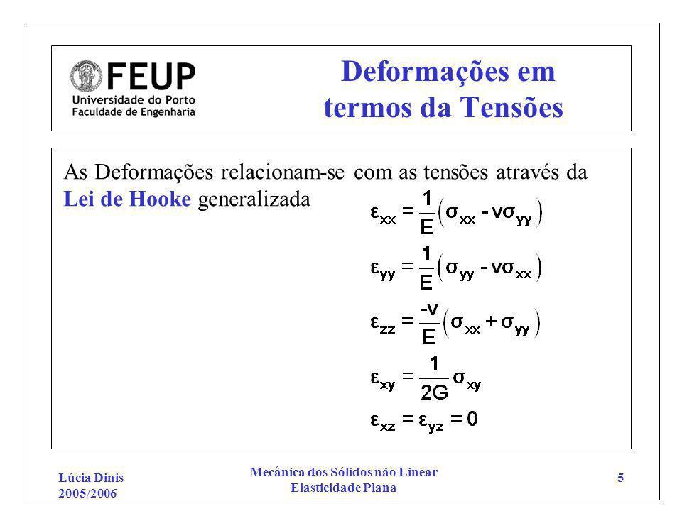 Lúcia Dinis 2005/2006 Mecânica dos Sólidos não Linear Elasticidade Plana 5 Deformações em termos da Tensões As Deformações relacionam-se com as tensõe