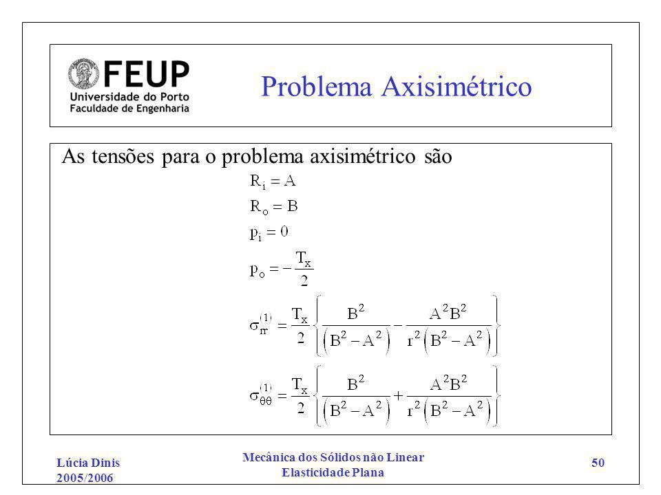 Lúcia Dinis 2005/2006 Mecânica dos Sólidos não Linear Elasticidade Plana 50 Problema Axisimétrico As tensões para o problema axisimétrico são