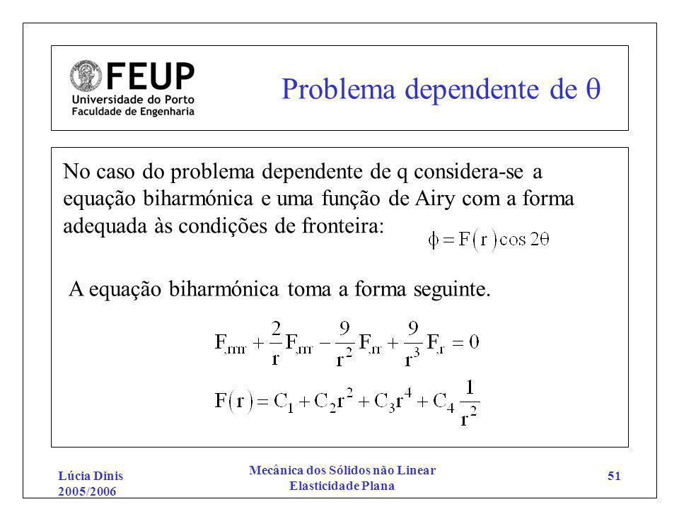 Lúcia Dinis 2005/2006 Mecânica dos Sólidos não Linear Elasticidade Plana 51 Problema dependente de No caso do problema dependente de q considera-se a