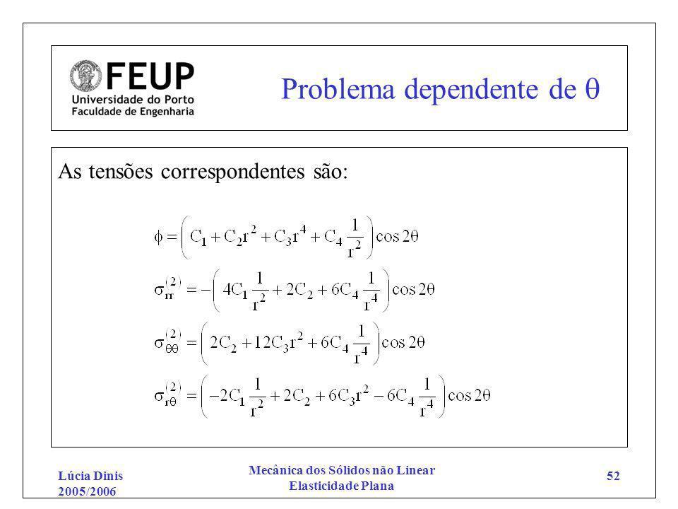 Lúcia Dinis 2005/2006 Mecânica dos Sólidos não Linear Elasticidade Plana 52 Problema dependente de As tensões correspondentes são: