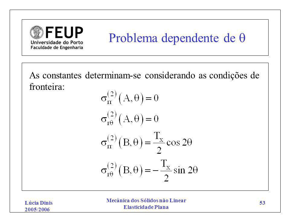 Lúcia Dinis 2005/2006 Mecânica dos Sólidos não Linear Elasticidade Plana 53 Problema dependente de As constantes determinam-se considerando as condiçõ