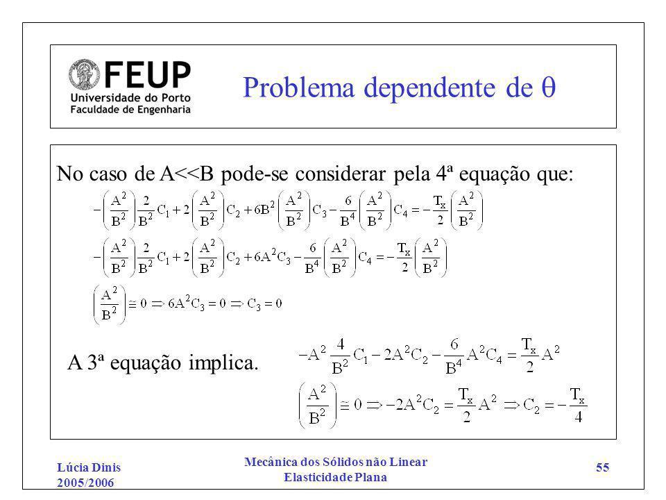 Lúcia Dinis 2005/2006 Mecânica dos Sólidos não Linear Elasticidade Plana 55 Problema dependente de No caso de A<<B pode-se considerar pela 4ª equação