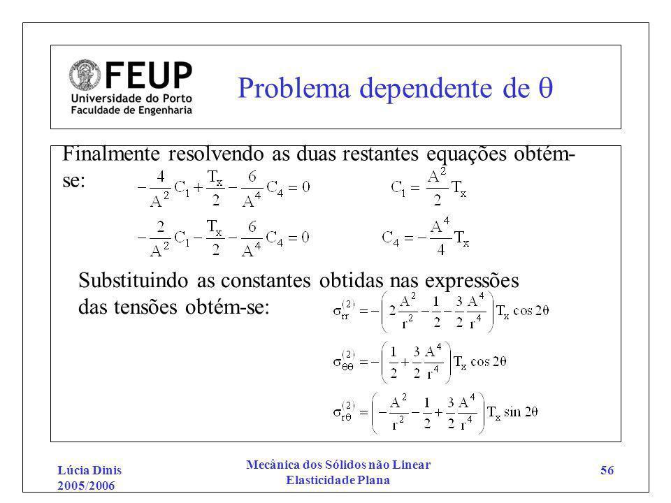 Lúcia Dinis 2005/2006 Mecânica dos Sólidos não Linear Elasticidade Plana 56 Problema dependente de Finalmente resolvendo as duas restantes equações ob