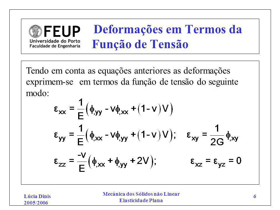 Lúcia Dinis 2005/2006 Mecânica dos Sólidos não Linear Elasticidade Plana 6 Deformações em Termos da Função de Tensão Tendo em conta as equações anteri