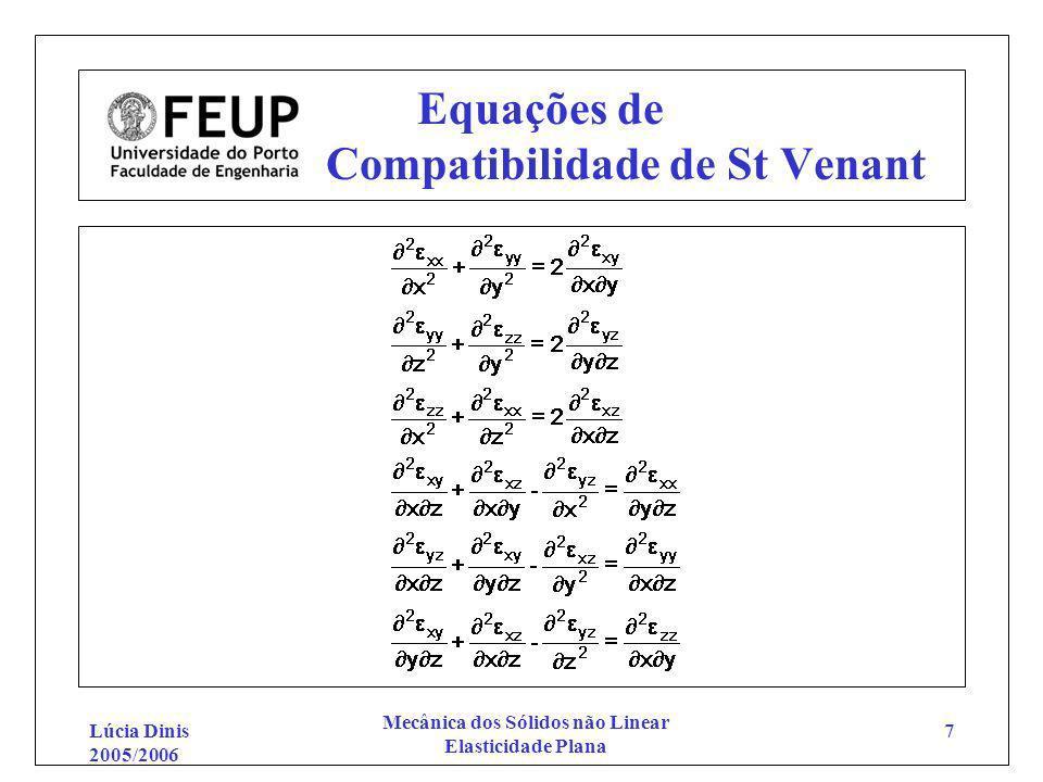 Lúcia Dinis 2005/2006 Mecânica dos Sólidos não Linear Elasticidade Plana 7 Equações de Compatibilidade de St Venant