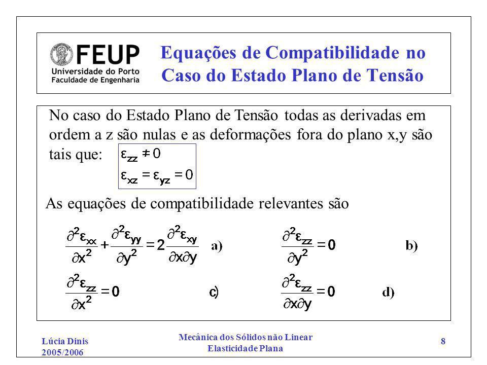 Lúcia Dinis 2005/2006 Mecânica dos Sólidos não Linear Elasticidade Plana 8 Equações de Compatibilidade no Caso do Estado Plano de Tensão No caso do Es
