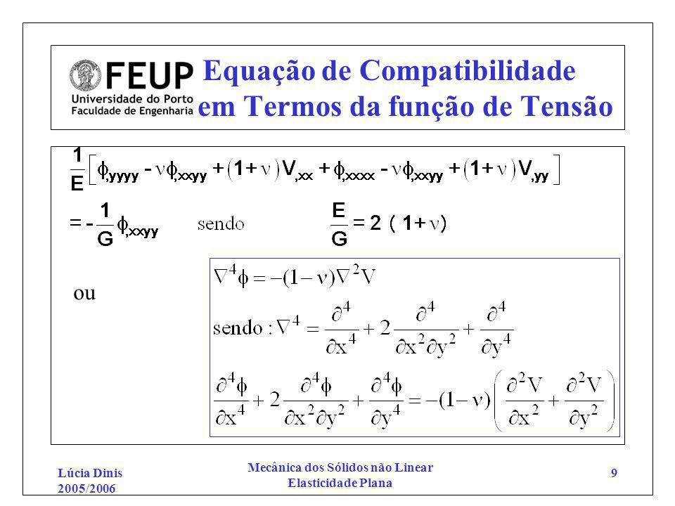 Lúcia Dinis 2005/2006 Mecânica dos Sólidos não Linear Elasticidade Plana 9 Equação de Compatibilidade em Termos da função de Tensão ou