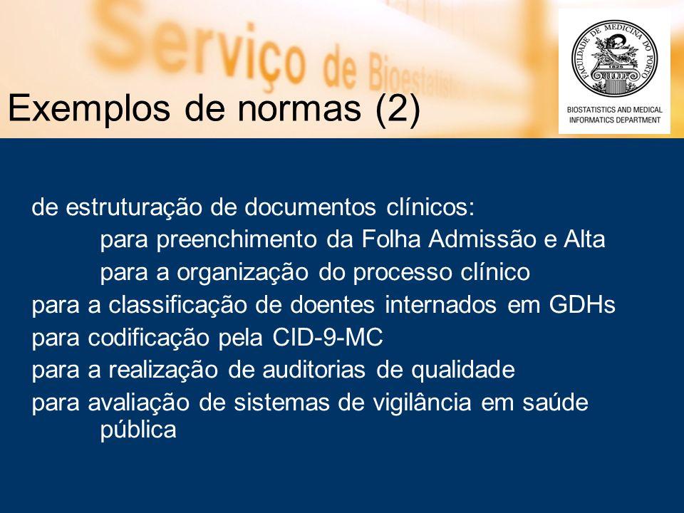 Exemplos de normas (2) de estruturação de documentos clínicos: para preenchimento da Folha Admissão e Alta para a organização do processo clínico para