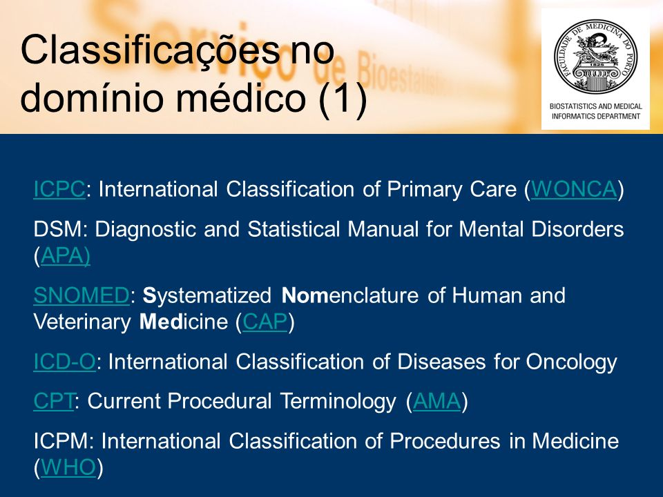Classificações no domínio médico (1) ICPCICPC: International Classification of Primary Care (WONCA)WONCA DSM: Diagnostic and Statistical Manual for Me