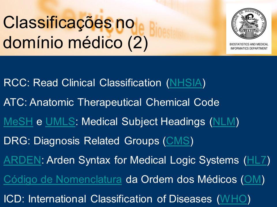 Classificações no domínio médico (2) RCC: Read Clinical Classification (NHSIA)NHSIA ATC: Anatomic Therapeutical Chemical Code MeSHMeSH e UMLS: Medical
