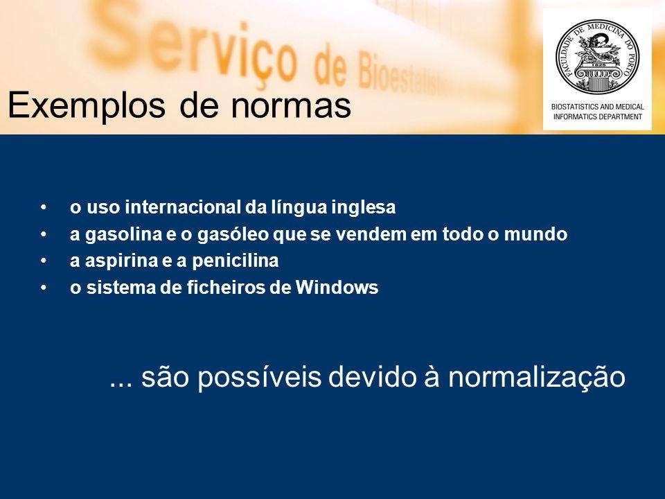 Exemplos de normas o uso internacional da língua inglesa a gasolina e o gasóleo que se vendem em todo o mundo a aspirina e a penicilina o sistema de f
