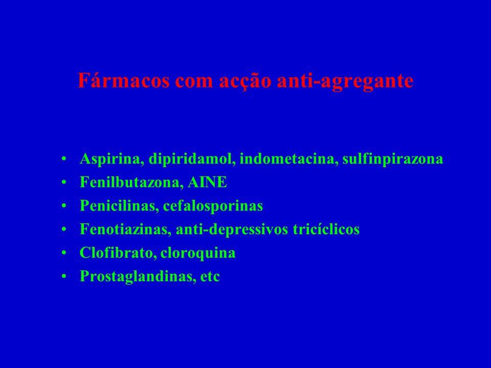 Fármacos com acção anti-agregante Aspirina, dipiridamol, indometacina, sulfinpirazona Fenilbutazona, AINE Penicilinas, cefalosporinas Fenotiazinas, an