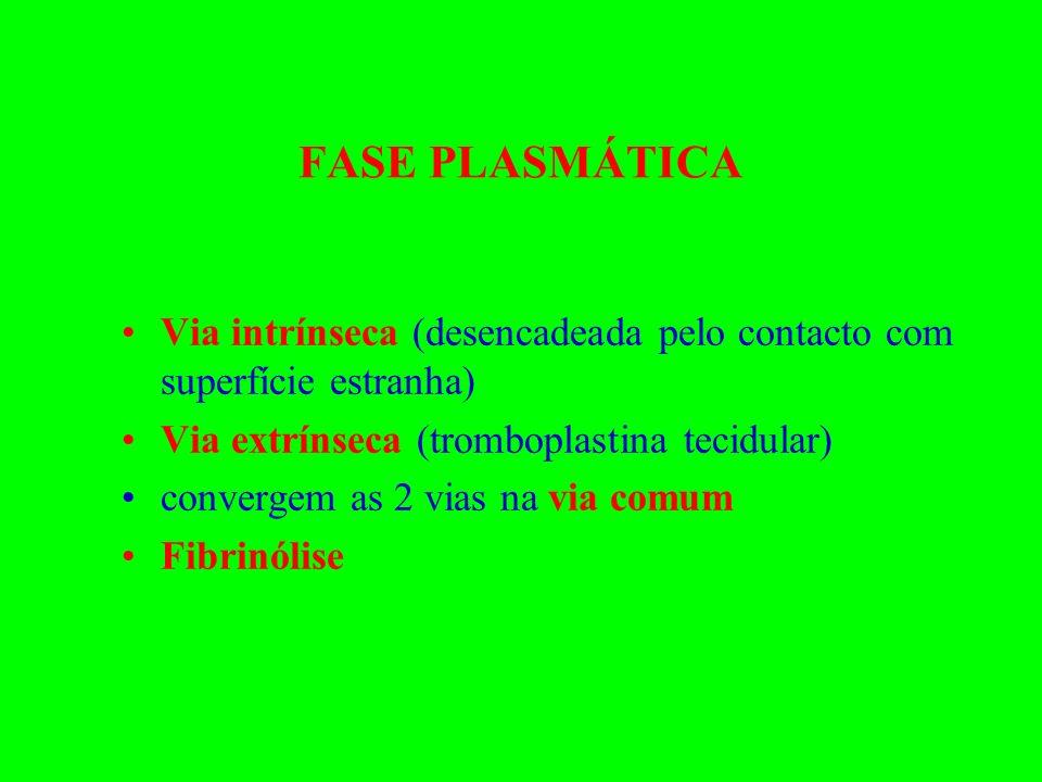 FASE PLASMÁTICA Via intrínseca (desencadeada pelo contacto com superfície estranha) Via extrínseca (tromboplastina tecidular) convergem as 2 vias na v