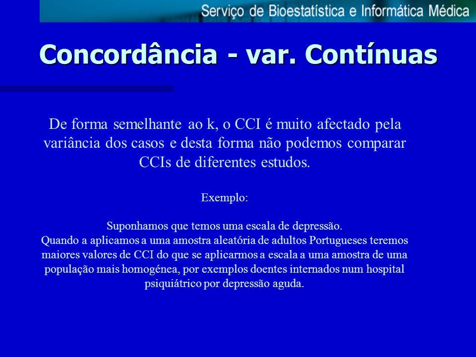 Concordância - var. Contínuas De forma semelhante ao k, o CCI é muito afectado pela variância dos casos e desta forma não podemos comparar CCIs de dif