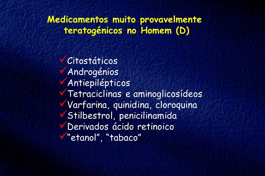 Medicamentos muito provavelmente teratogénicos no Homem (D) Citostáticos Androgénios Antiepilépticos Tetraciclinas e aminoglicosídeos Varfarina, quini