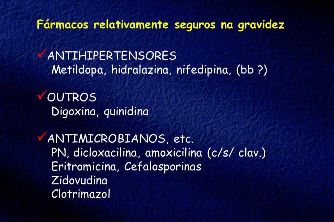 Fármacos relativamente seguros na gravidez ANTIHIPERTENSORES Metildopa, hidralazina, nifedipina, (bb ?) OUTROS Digoxina, quinidina ANTIMICROBIANOS, et