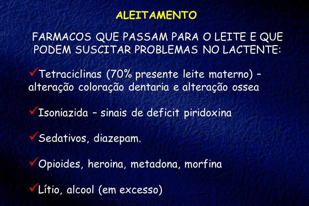ALEITAMENTO FARMACOS QUE PASSAM PARA O LEITE E QUE PODEM SUSCITAR PROBLEMAS NO LACTENTE: Tetraciclinas (70% presente leite materno) – alteração colora