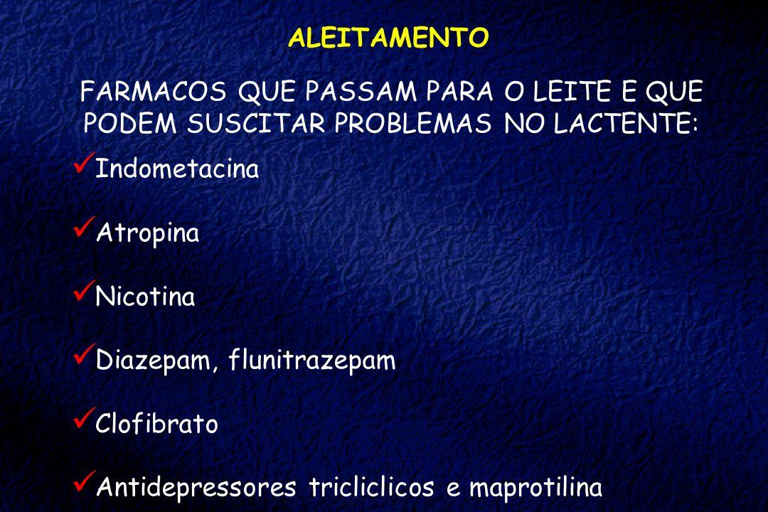 ALEITAMENTO FARMACOS QUE PASSAM PARA O LEITE E QUE PODEM SUSCITAR PROBLEMAS NO LACTENTE: Indometacina Atropina Nicotina Diazepam, flunitrazepam Clofib