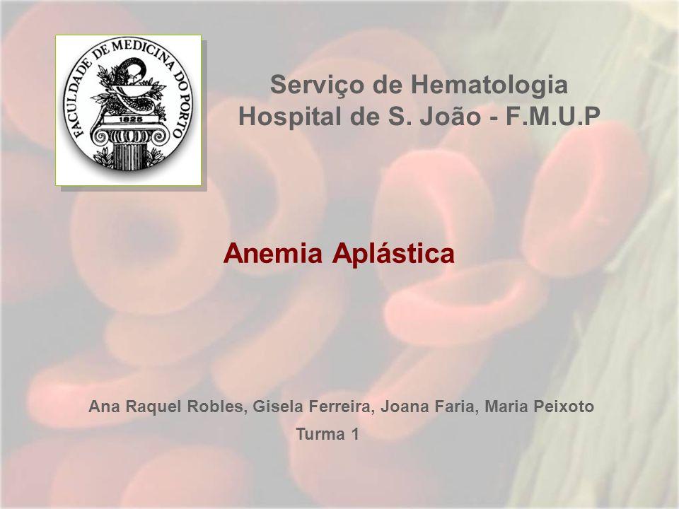 Serviço de Hematologia Hospital de S. João - F.M.U.P Anemia Aplástica Ana Raquel Robles, Gisela Ferreira, Joana Faria, Maria Peixoto Turma 1