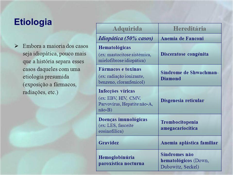 TRATAMENTO Tratamento de suporte Evitar a exposição ao agente causador Tipagem HLA e ABO do doente para transfusões e transplantes Realização de transfusões: - concentrado de hemáceas Hb< 8 g/dl Hb< 10 g/dl + patologia cardiaca ou respiratória (ex: IC, DPOC) - concentrado de plaquetas < 10X10 9 /L <20X10 9 /L + febre, lesões da mucosa ou pneumonia Se CMV negativo => produtos CMV negativos Se os doentes são candidatos a transplante de medula óssea o número de transfusões deve ser limitado e não devem ser de membros da mesma familia.