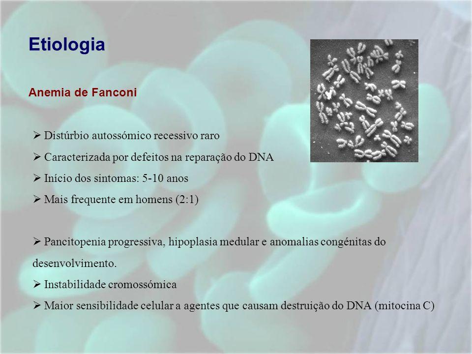 Etiologia Anemia de Fanconi Distúrbio autossómico recessivo raro Caracterizada por defeitos na reparação do DNA Início dos sintomas: 5-10 anos Mais fr