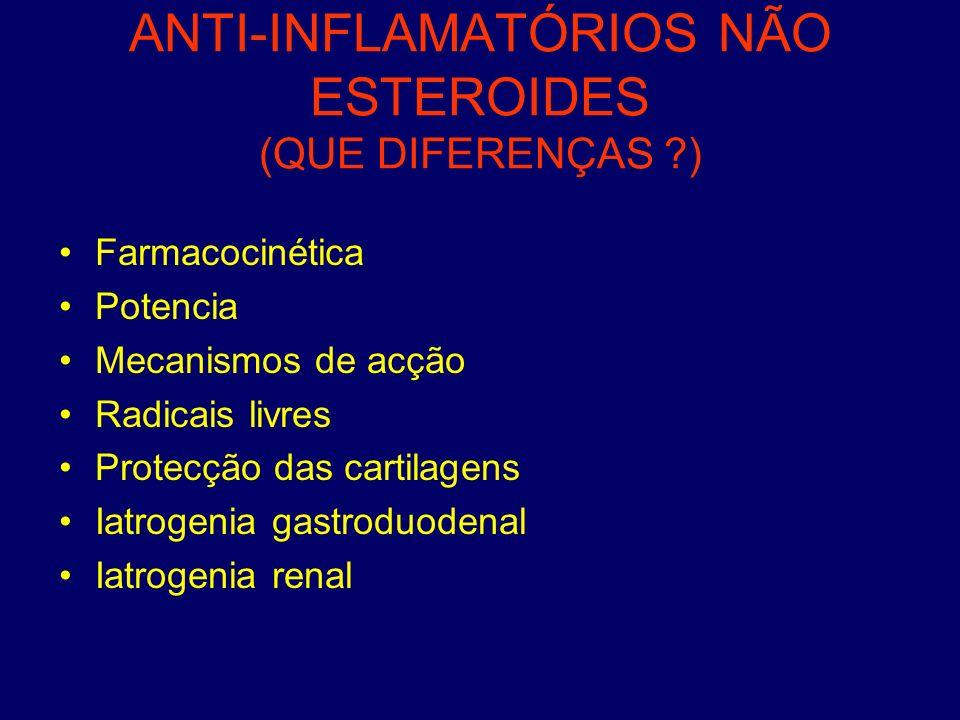ANTI-INFLAMATÓRIOS NÃO ESTEROIDES (QUE DIFERENÇAS ?) Farmacocinética Potencia Mecanismos de acção Radicais livres Protecção das cartilagens Iatrogenia