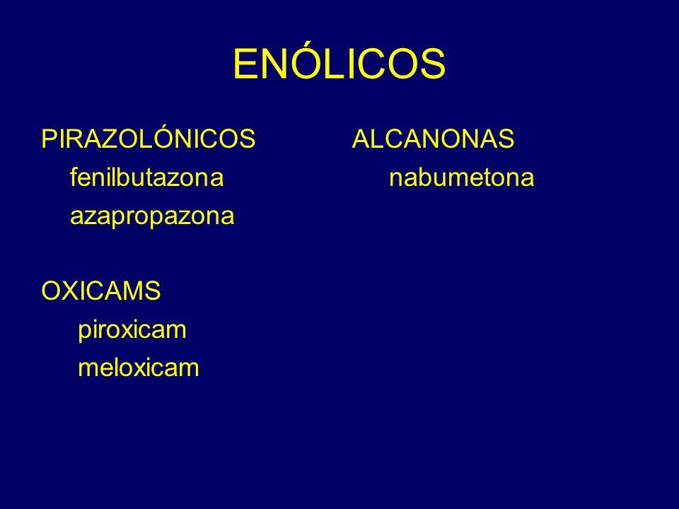 ENÓLICOS PIRAZOLÓNICOS fenilbutazona azapropazona OXICAMS piroxicam meloxicam ALCANONAS nabumetona